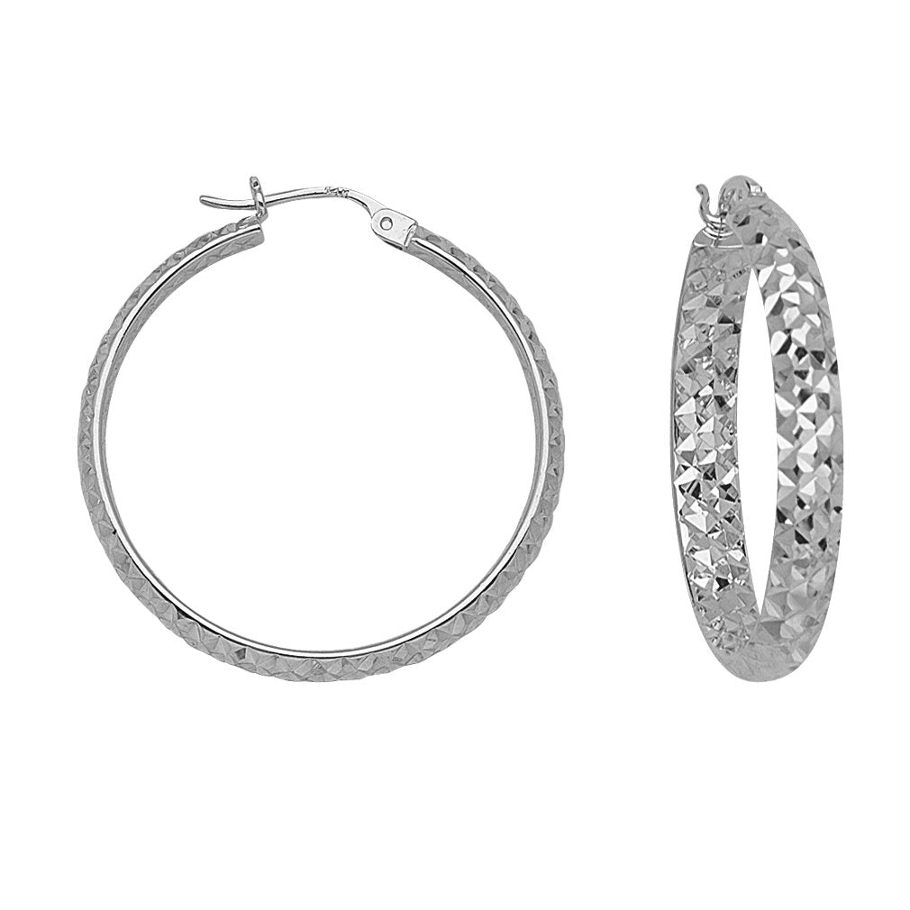 14k White Gold 3x25mm Half Round In Out Diamond-cut Hoop Earrings