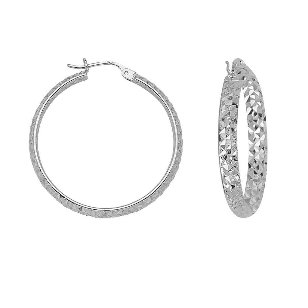 14k White Gold 3x30mm Half Round In Out Diamond-cut Hoop Earrings