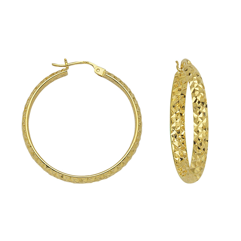 14k Yellow Gold 3x30mm Half Round In Out Diamond-cut Hoop Earrings