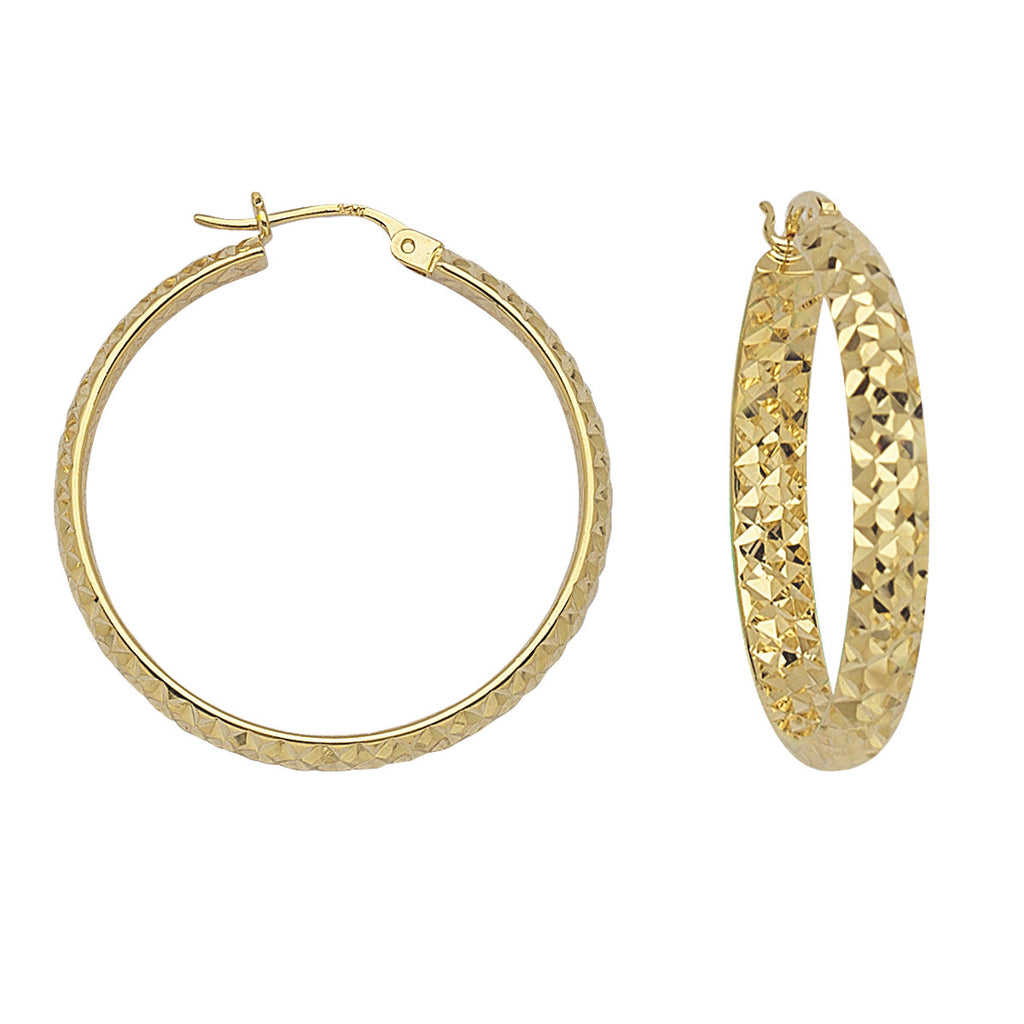14k Yellow Gold 4x40mm Diamond-cut Hoop Earrings