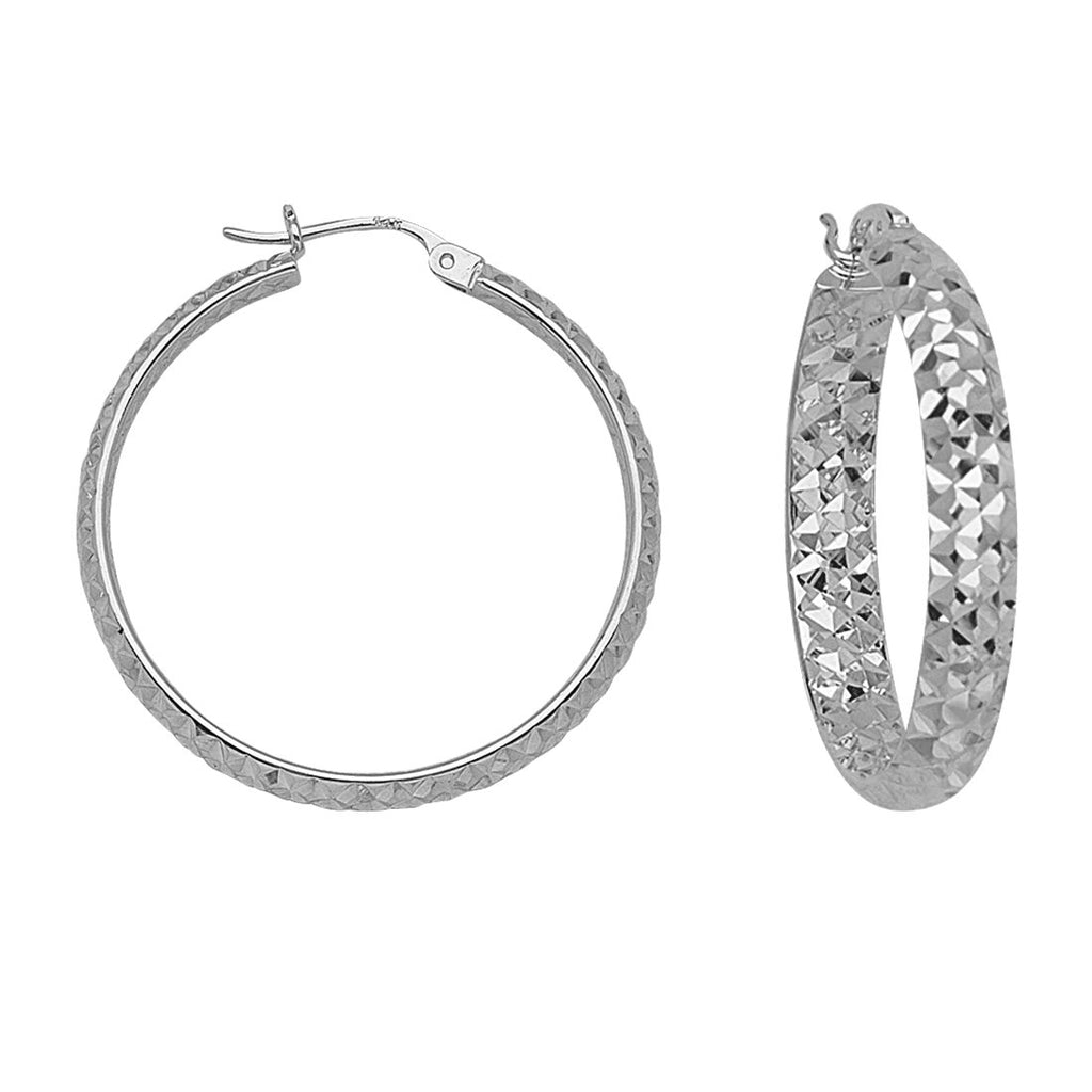 14k White Gold 4x30mm Diamond-cut Hoop Earrings