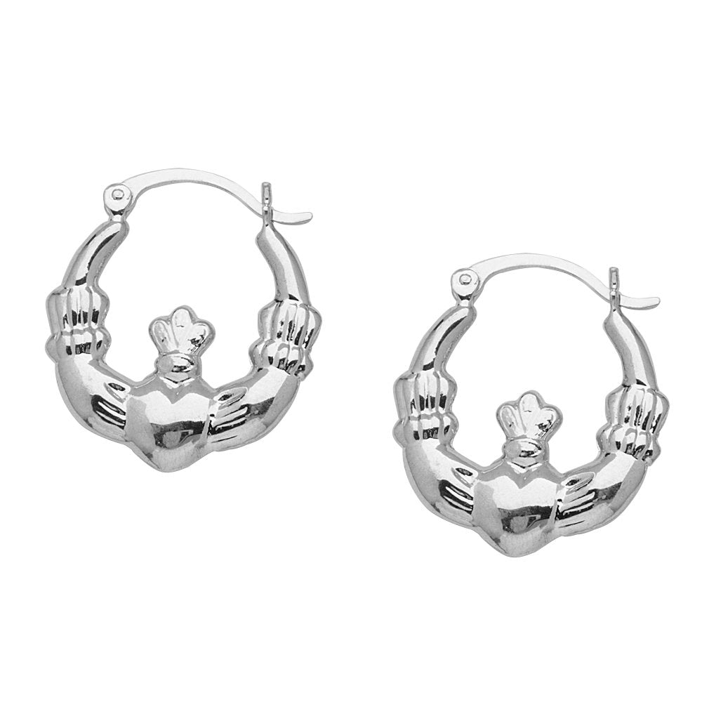 14k White Gold Claddagh Hoop Earrings with Snap Post