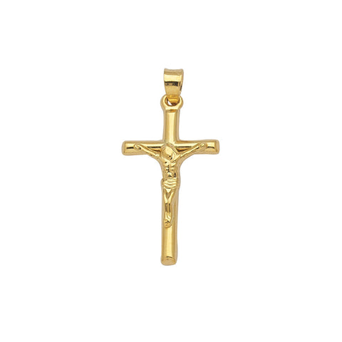 10k Yellow Gold Crucifix Pendant with Rounded Cross Design