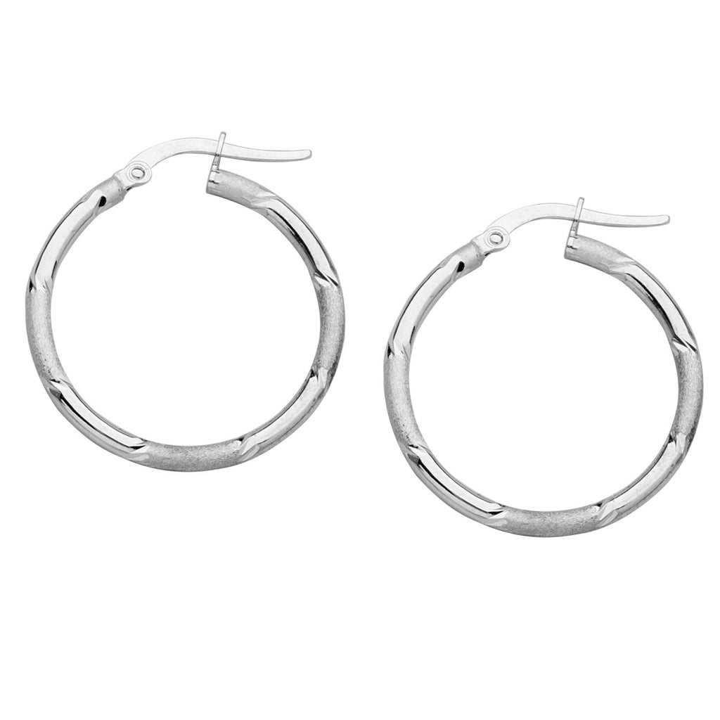 14k White Gold Hoop Earrings 25mm Alternating Satin and Polished Finish