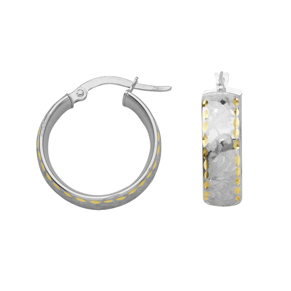 14k Two-tone White and Yellow Gold Round Hoop Earrings 20mm