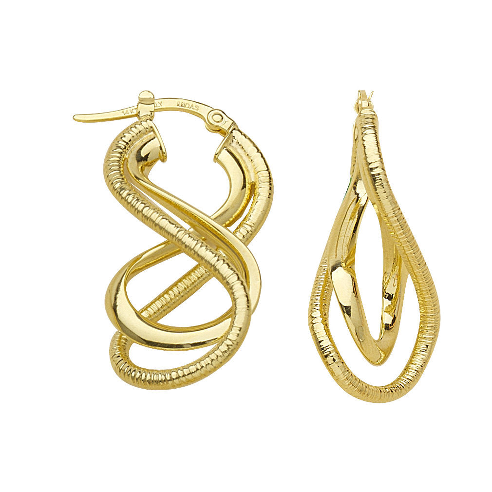 14k Yellow Gold Twist Earrings with Click Post Euro Style