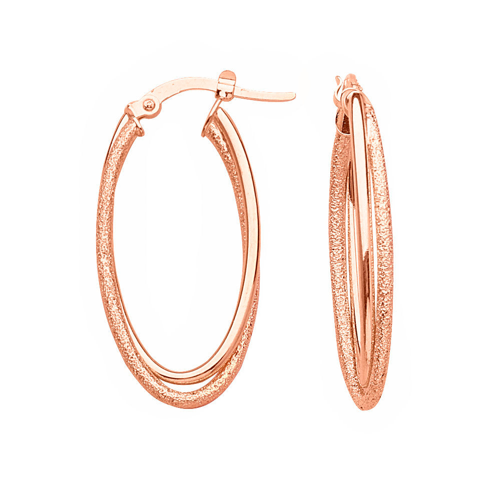 14k Rose Gold Double Hoop Earrings High Polish and Laser Finish