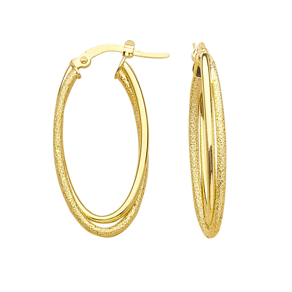 14k Yellow Gold Double Hoop Earrings High Polish and Laser Stardust Finish