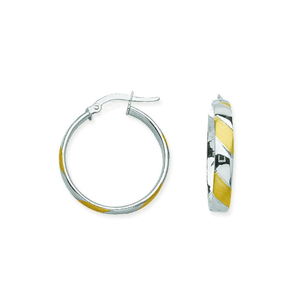 14k Two-tone White and Yellow Gold Hoop Earrings with Satin and Polished Finish