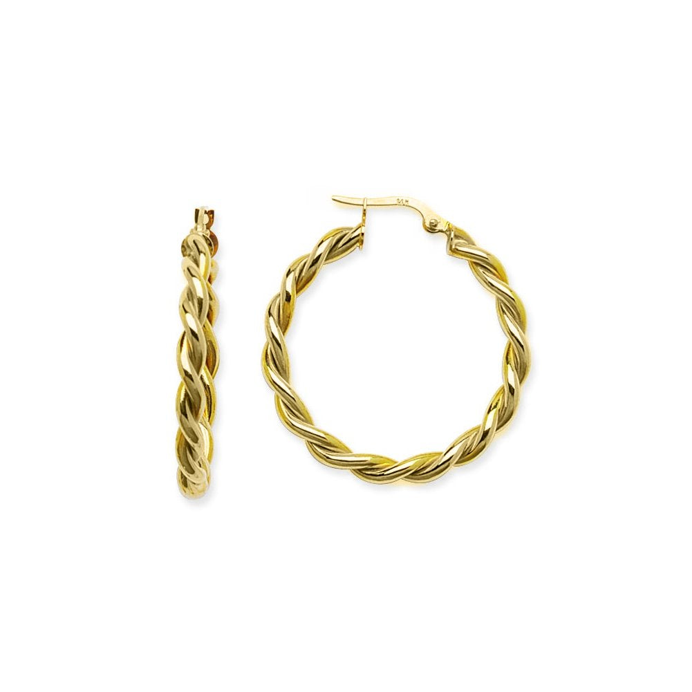 14k Yellow Gold Twist Rope Hoop Earrings 32mm
