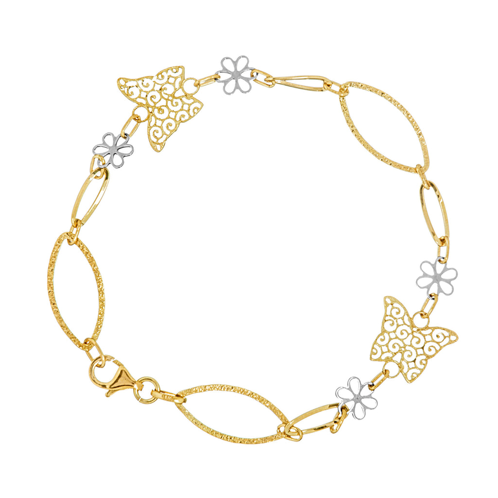 14k Two-tone Gold Bracelet with Filigree Butterflies and Daisy Flowers