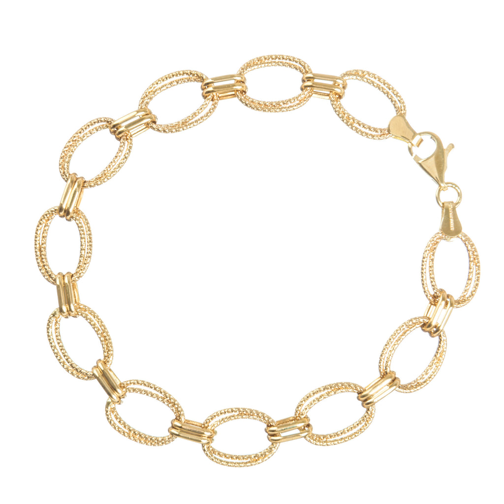 14k Yellow Gold Chain Bracelet Hammered Finish Layered Oval Links