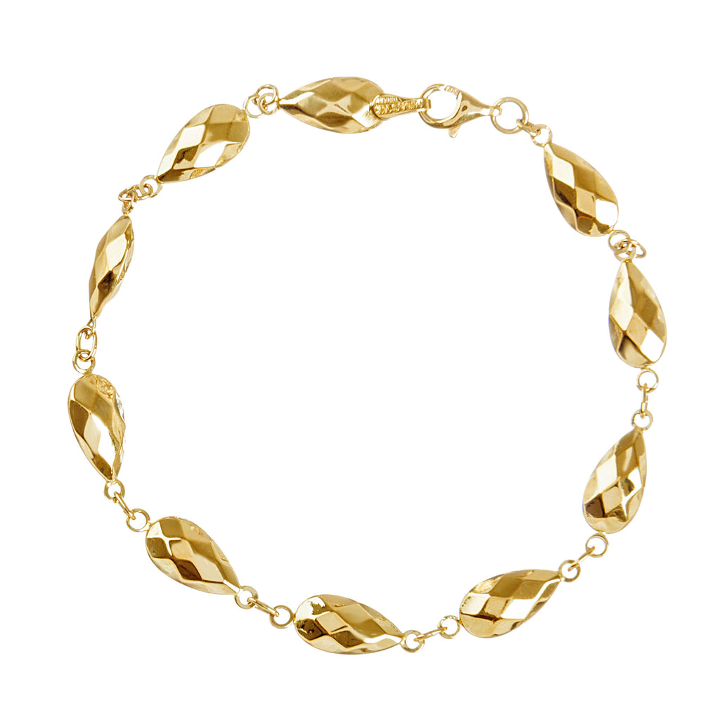 14k Yellow Gold Faceted Bead Bracelet with Puffed Teardrop Links