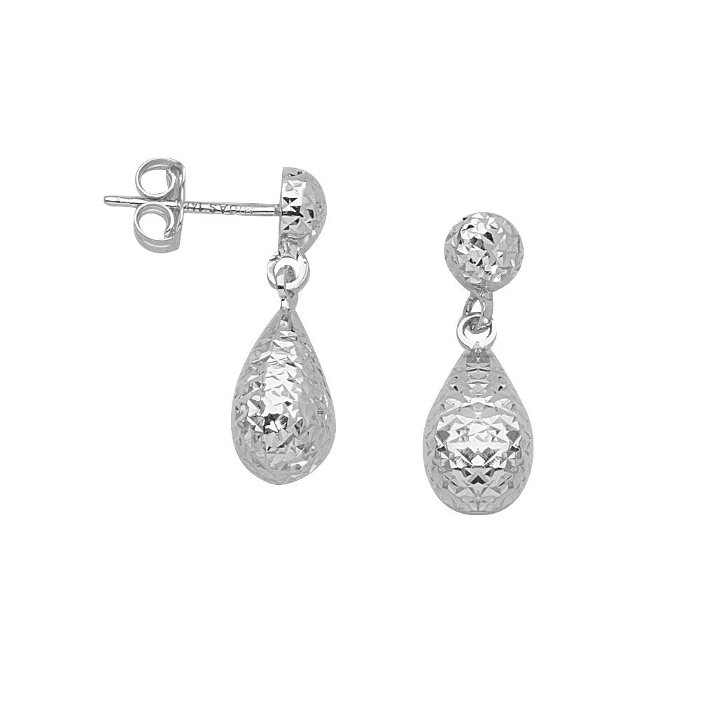 14k White Gold Teardrop Pear Drop Dangle Earrings with Hammered Texture