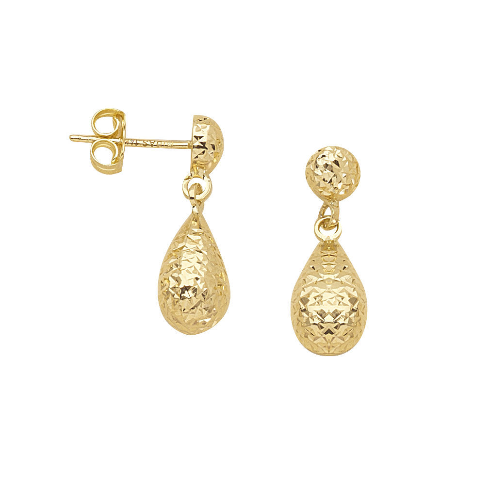 14k Yellow Gold Teardrop Pear Drop Dangle Earrings with Hammered Texture