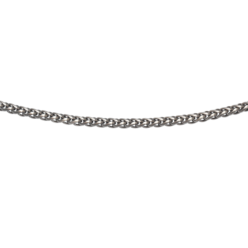 Mens Rounded Wheat Chain Necklace 5mm Width Antiqued Sterling Silver 22-inch