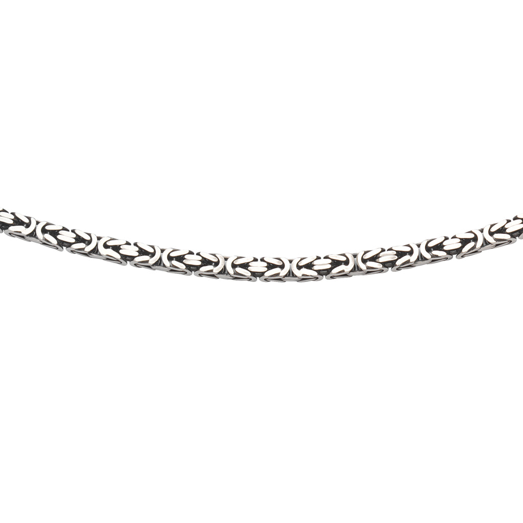 Mens Byzantine Chain Necklace 6mm Width Antiqued Sterling Silver 22-inch  Length