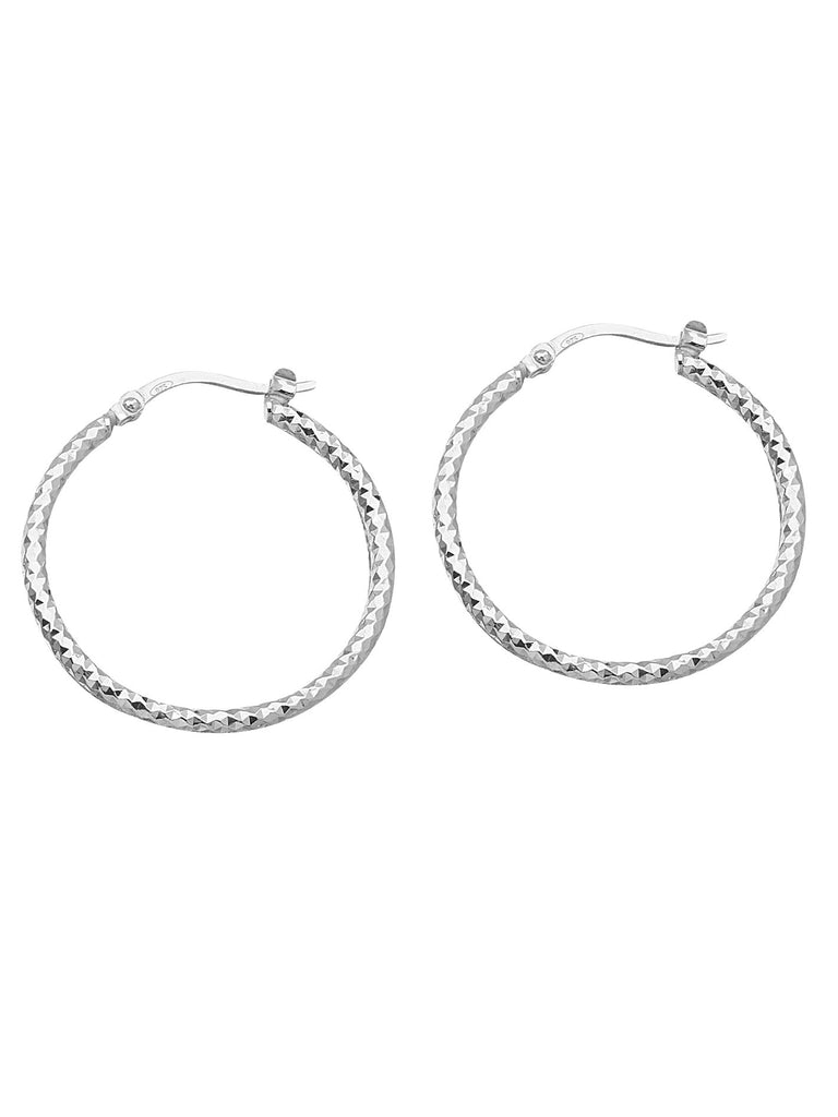 Full Round Diamond-cut Hoop Earrings 2x30mm Rhodium on Sterling Silver