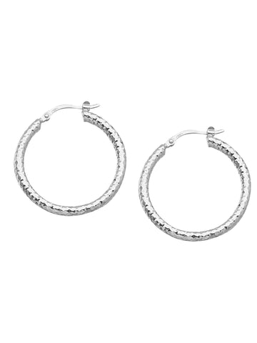 Full Round Diamond-cut Hoop Earrings 3x30mm Rhodium on Sterling Silver