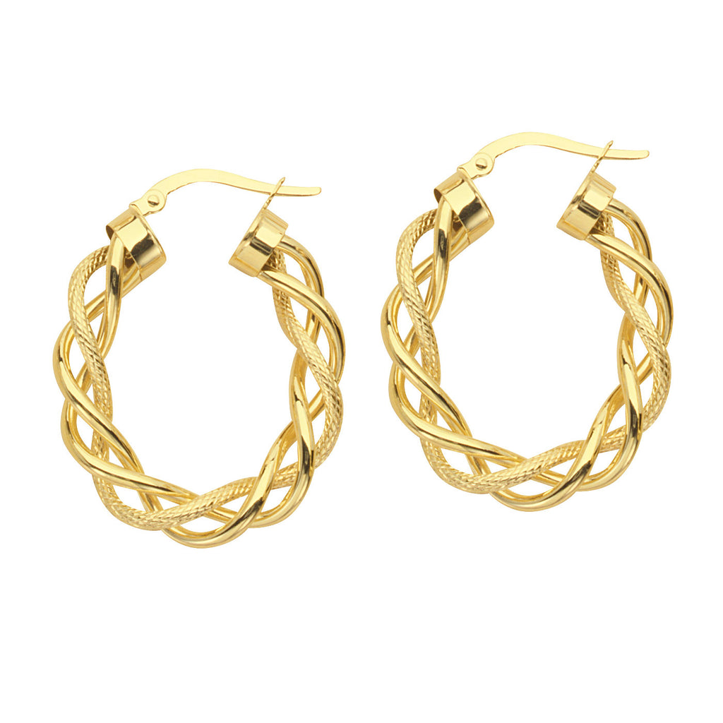 14k Yellow Gold Hoop Earrings Twist Braided Style with Polished and Rope Strands