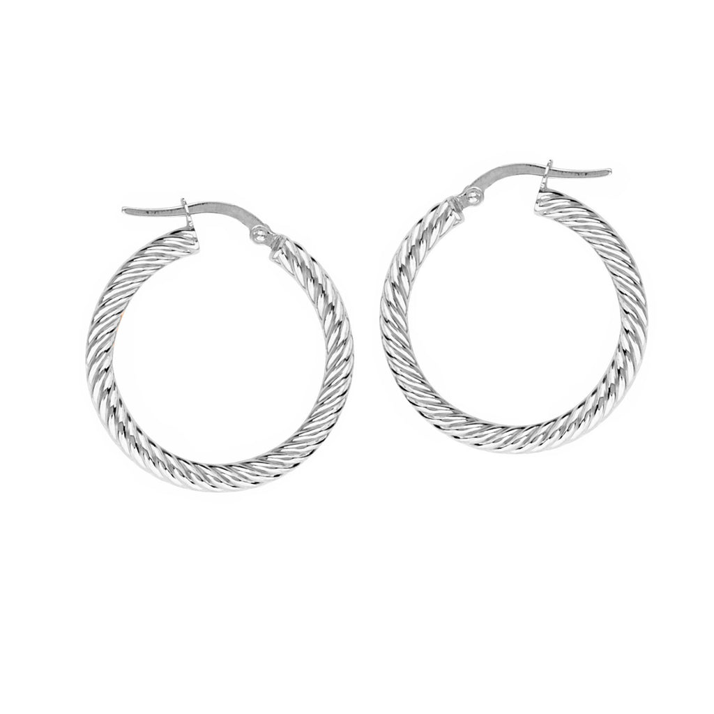 14k White Gold Rope Twist Hoop Earrings with Post 3x25mm
