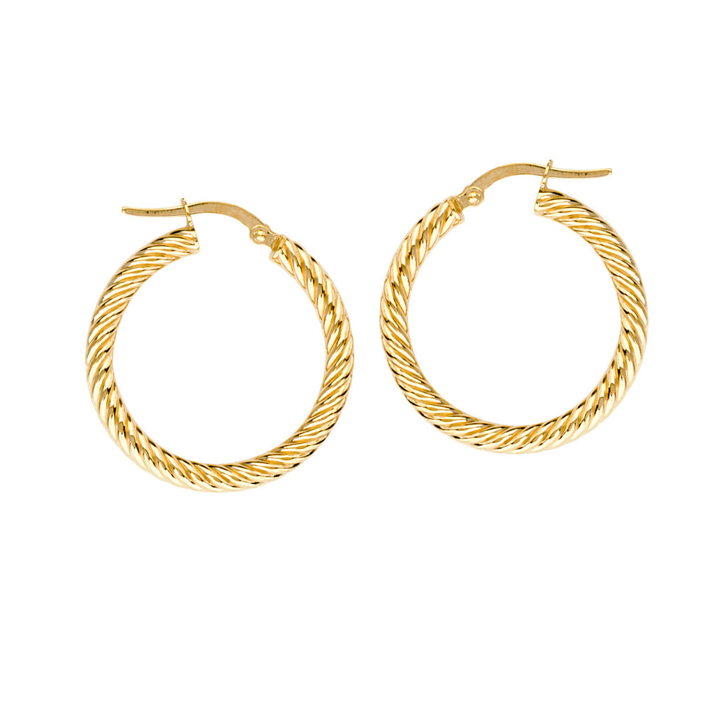 14k Yellow Gold Rope Twist Hoop Earrings with Post 3x25mm