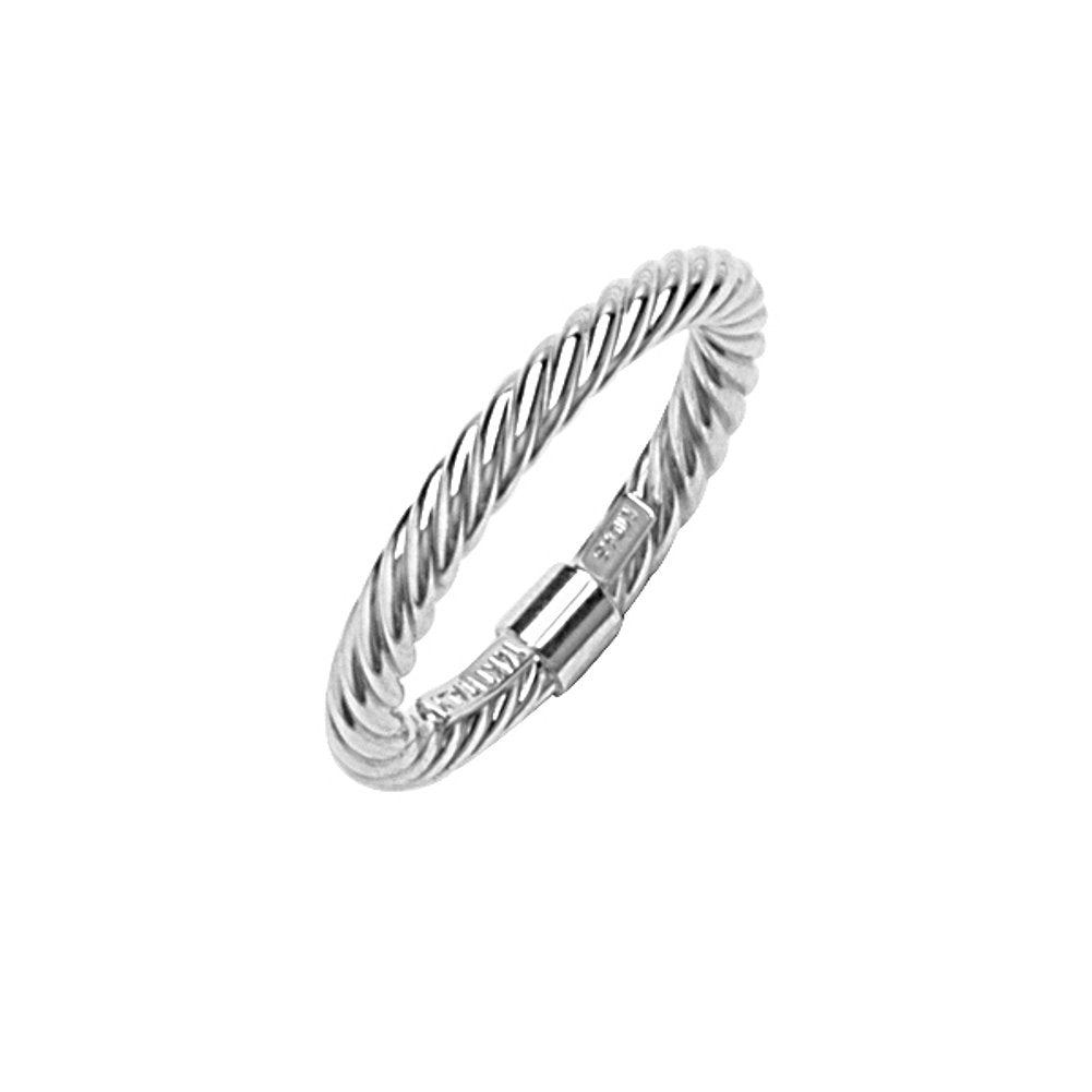 14k White Gold Stackable Ring with Rope Twist Texture 2mm