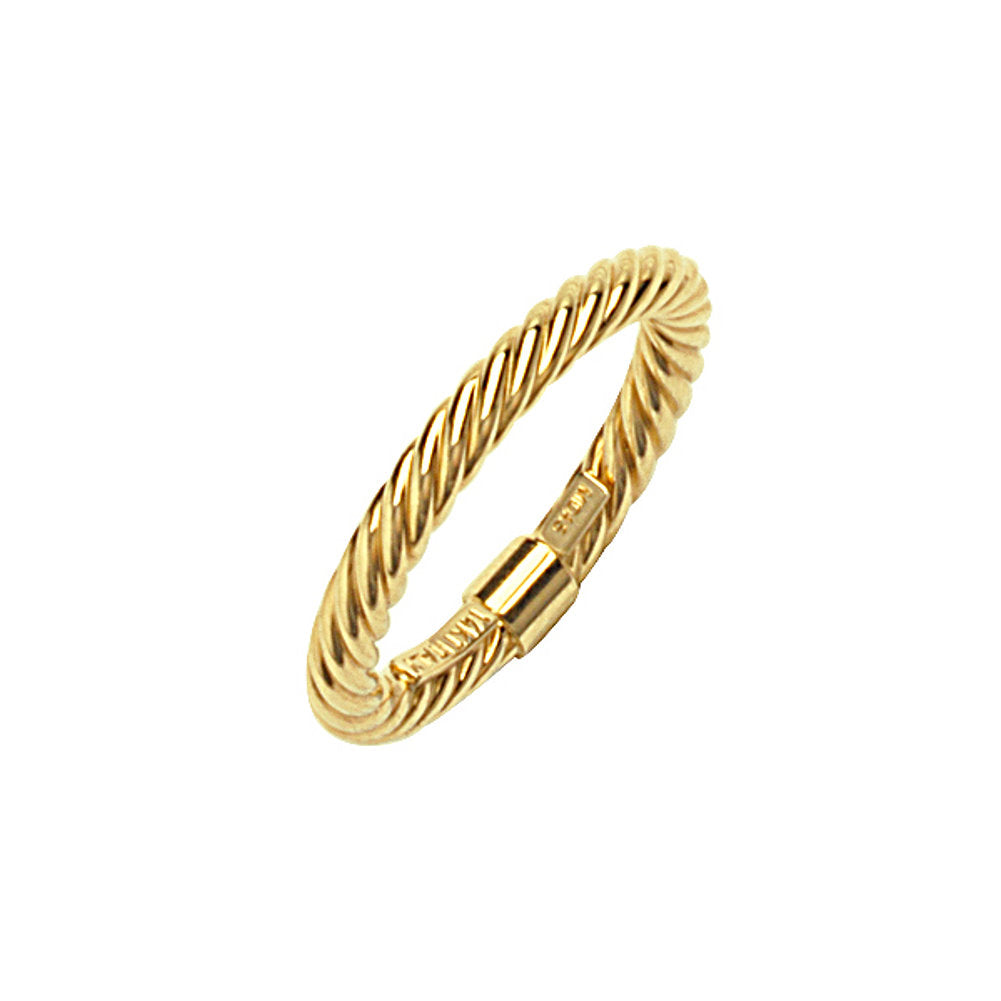 14k Yellow Gold Stackable Ring with Rope Twist Texture 2mm