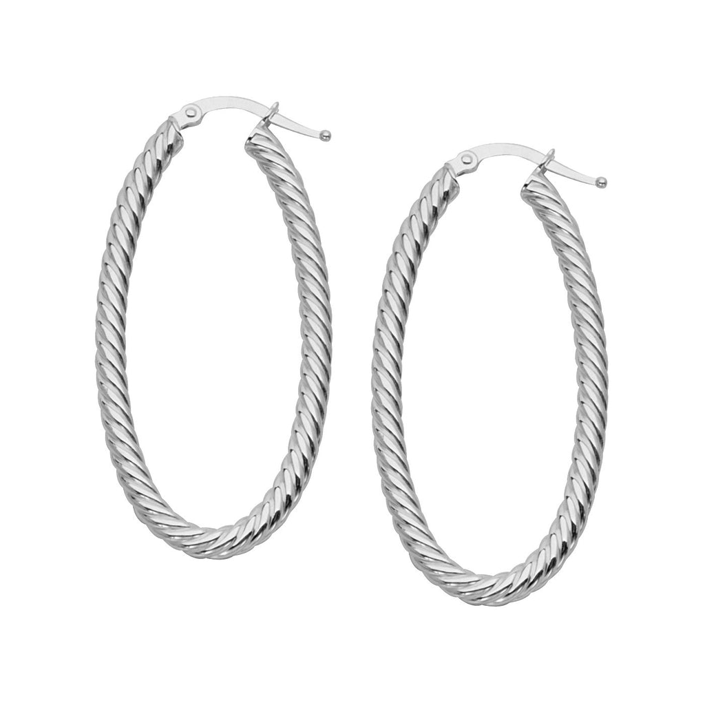 14k White Gold Rope Twist Hoop Earrings with Post Oval 45mm