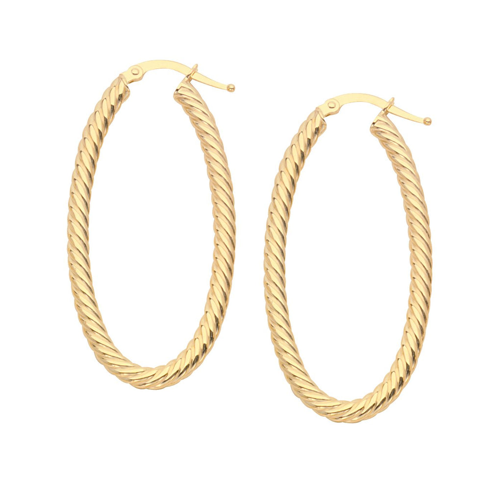 14k Yellow Gold Rope Twist Hoop Earrings with Post Oval 45mm