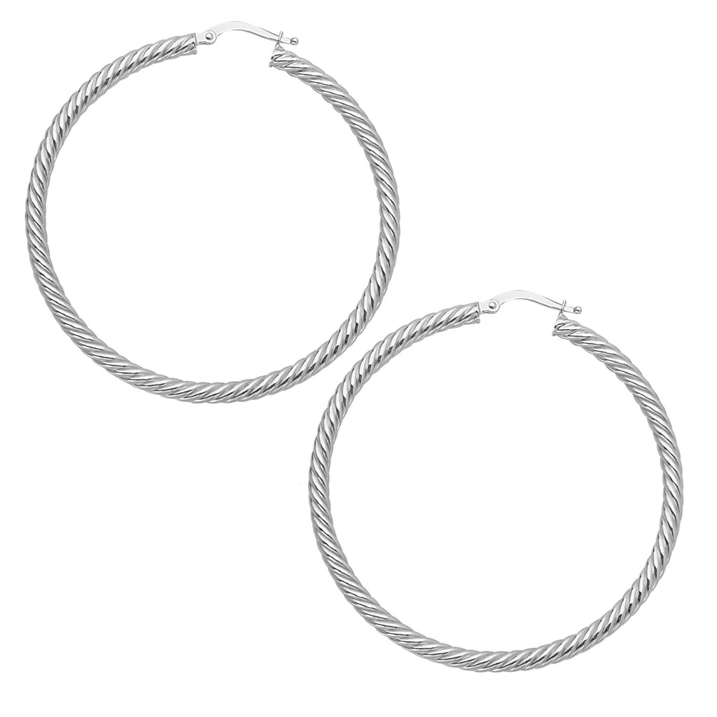 14k White Gold Rope Twist Hoop Earrings with Post 3x50mm