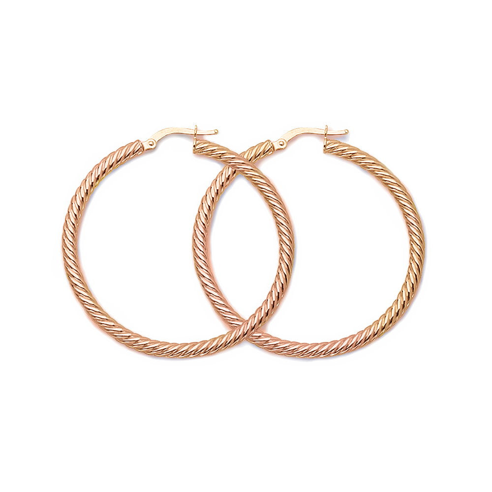 14k Rose Gold Rope Twist Hoop Earrings with Post 3x40mm