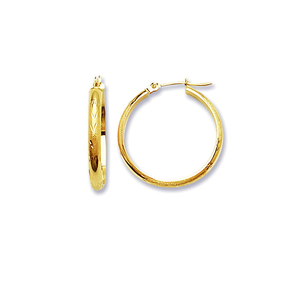 14k Yellow Gold Half Round Diamond-Cut Florentine Engraved Hoop Earrings 3x25mm