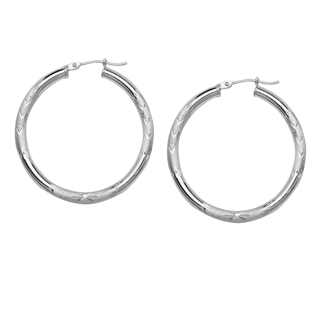 14k White Gold Florentine Diamond-Cut Engraved Hoop Earrings 3x35mm