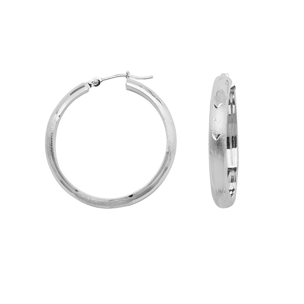 14k White Gold Half Round Diamond-Cut Florentine Engraved Hoop Earrings 4x30mm