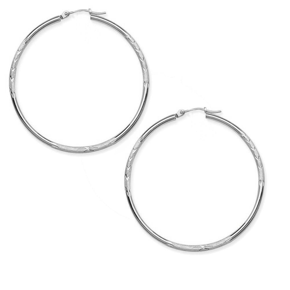 14k White Gold Round Diamond-cut Hoop Earrings 2x40mm