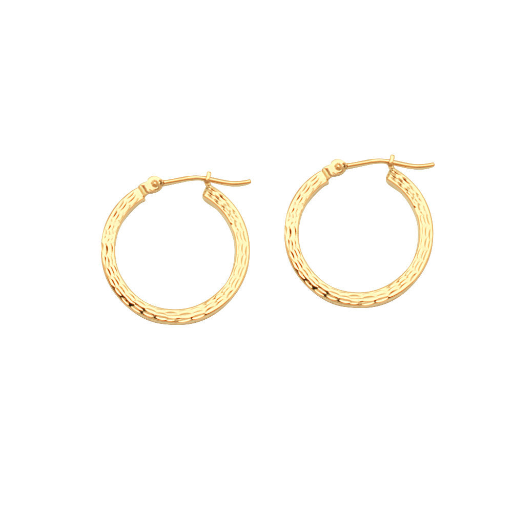 14k Yellow Gold Full Diamond-cut Square Edge Hoop Earrings 2x20mm