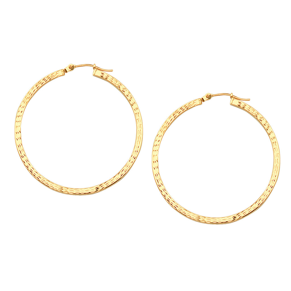 14k Yellow Gold Square Edge Hoop Earrings with Full Diamond-cut 2x40mm