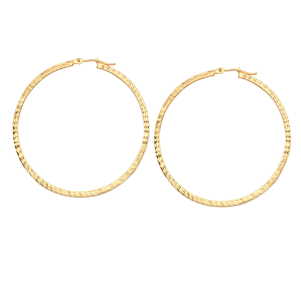 14k Yellow Gold Square Edge Hoop Earrings with Full Diamond-cut 2x50mm