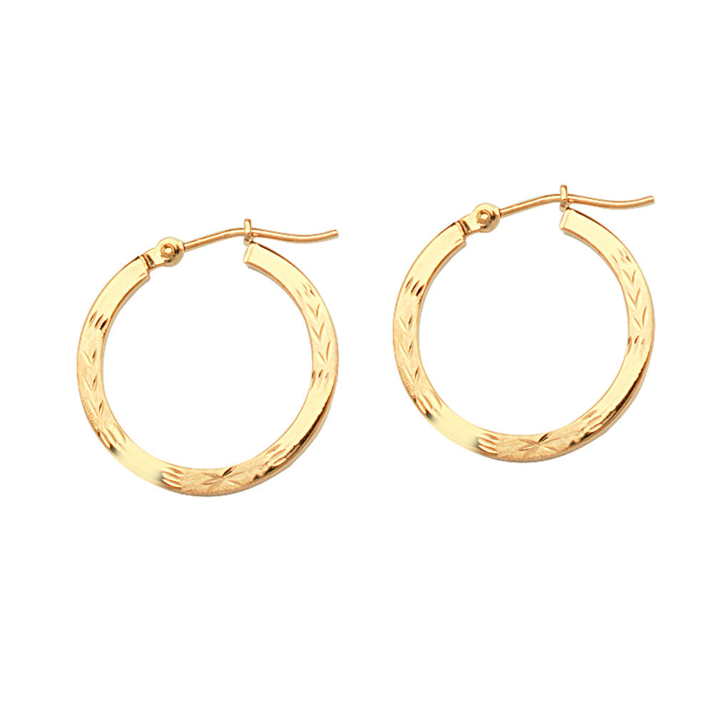 14k Yellow Gold Square Tube Diamond-cut Florentine Engraved Hoop Earrings 2x20mm