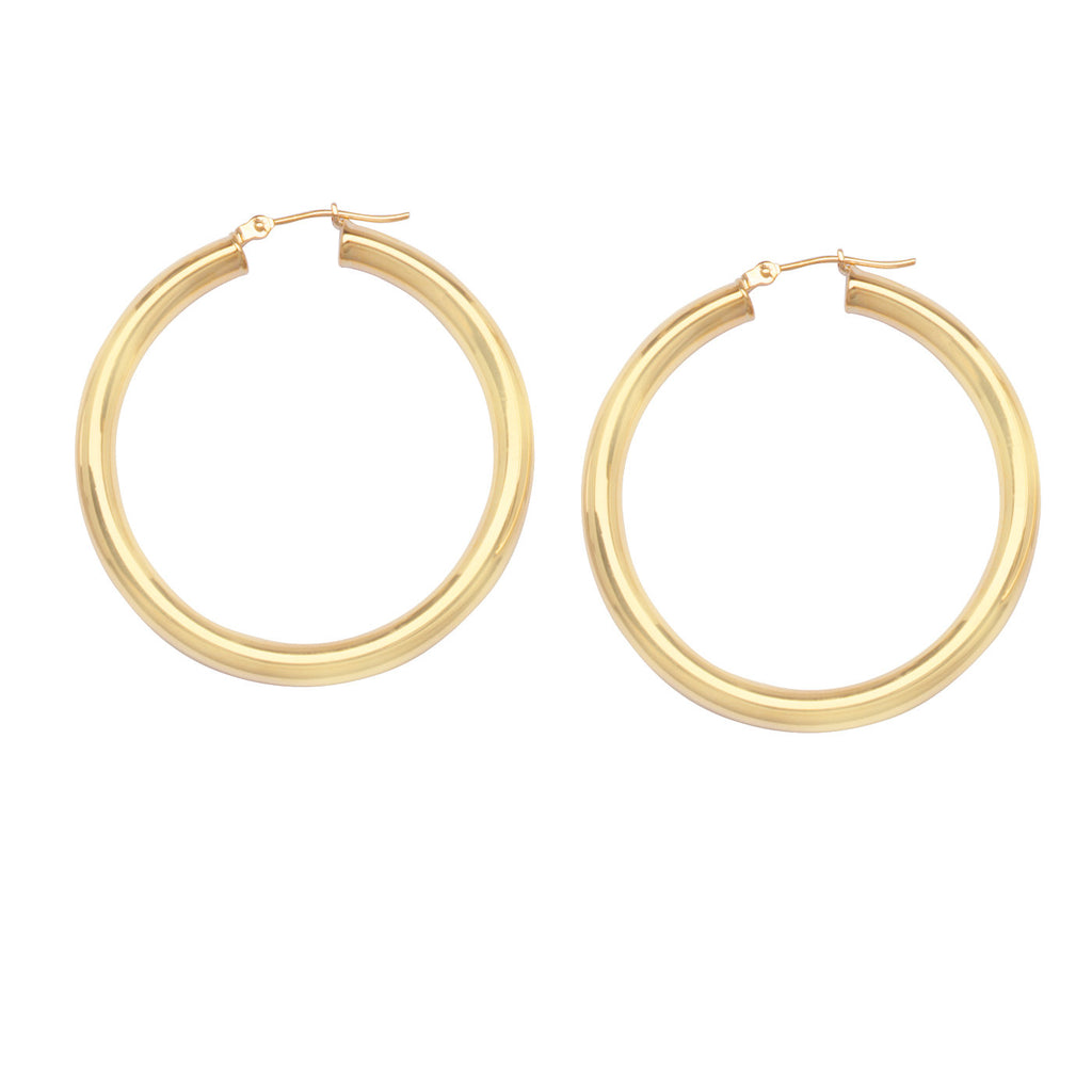 14K Yellow Gold Polished Hoop Earrings 4x40mm Post with Click Close