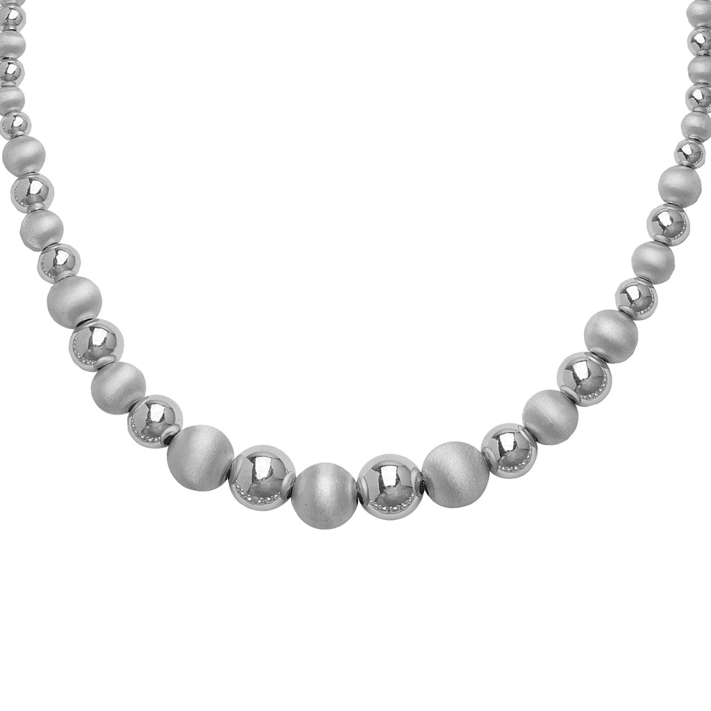 Ball Bead Necklace Polished and Laser Dust Finish Rhodium on Sterling Silver