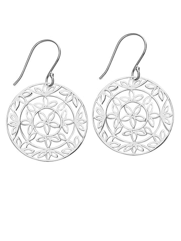 Dangle Earrings with Flower Shapes Design Polished Sterling Silver