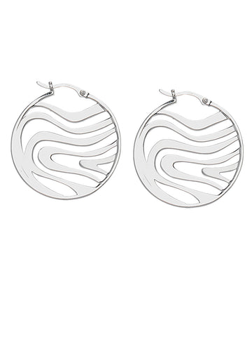 Swirl Design Open Work Hoop Earrings Polished Sterling Silver
