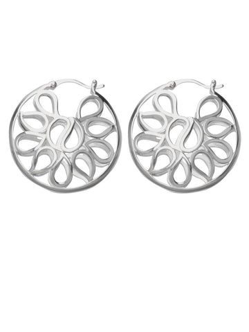Hoop Earrings with Multiple Teardrop Shapes Design Polished Sterling Silver