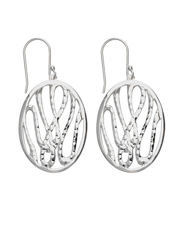 Diamond-cut Swirl Design Oval Dangle Earrings Polished Sterling Silver