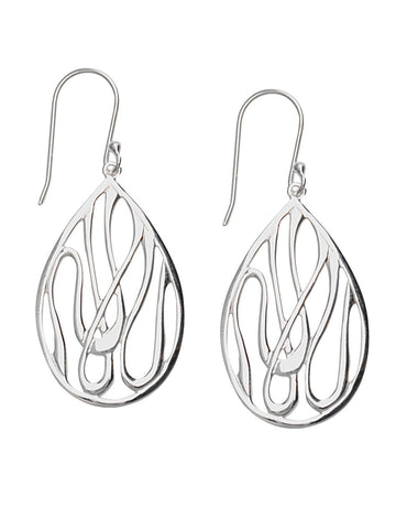 Swirl Design Teardrop Shape Dangle Earrings Polished Sterling Silver