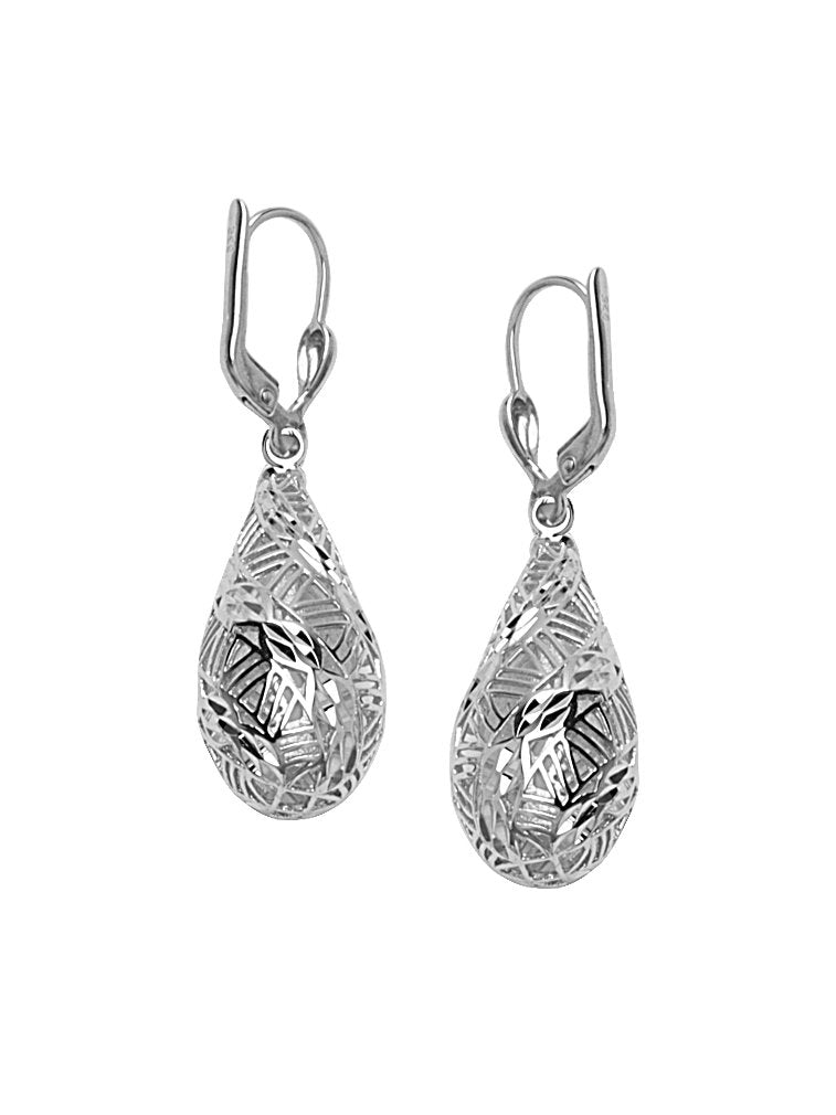Teardrop Drop Earrings Diamond-cut Mosaic Collection Silver Nontarnish Lever