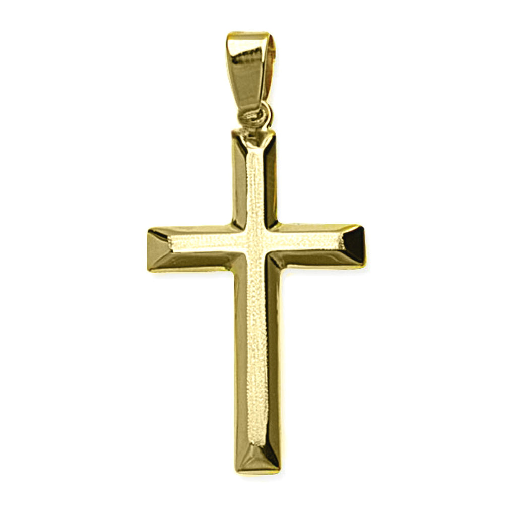 14k Yellow Gold Cross with Beveled Edge, Pendant Only