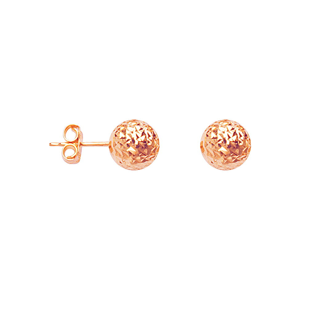 14k Rose Gold Ball Stud Earrings Diamond-cut Texture 8mm